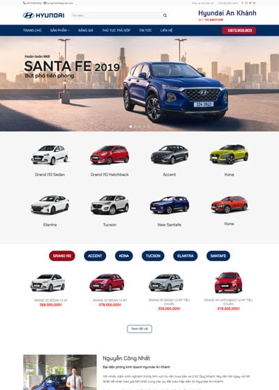Website bán oto hyundai